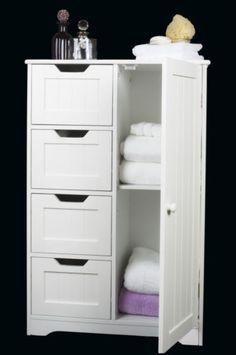 Four Drawer Door White Wooden Storage Cabinet Bathroom Bedroom Freestanding