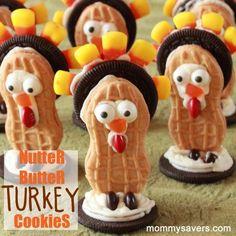 Cute nutter butter cookies for Thanksgiving! Awwww! Little turkeys!