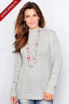 Poze Pulover tricotat, de culoare gri-deschis, decorat cu torsade - Maxine