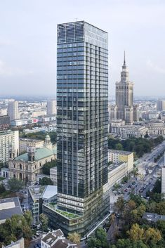 At 160 metres and 44 storeys, the Cosmopolitan is the second-tallest building in the Polish capital and is home to 236 stylishly furnished luxury apartments. Architecture Office, Architecture Design, Warsaw Poland, Historical Landmarks, Minecraft Projects, Luxury Apartments, World Heritage Sites, Cosmopolitan, Timeless Design