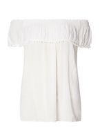 Womens Ivory Pom Trim Bardot Top- White