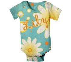 Personalized Baby Onesie Aqua Daisy Custom by SimplySublimeBaby, $24.95