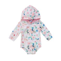 d7262f81fb Autumn Flower Baby Girl Hooded Rompers Jumpsuit Long Sleeve Newborn Baby  Girls One Piece Rompers Playsuit Outfit Clothes