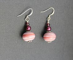 Pink Lamp work Earrings - Cherry Red Earrings - Burgundy Lampwork Earrings - Pink Striped Lampwork Earrings - pink earrings