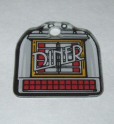 DINER By Williams ORIGINAL NOS Pinball Machine Plastic Promo Keychain w/ JUKEBOX #DinerPinball #Pinball Promos #PinballGame