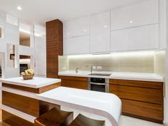 Gallery of small modern white kitchen designs including a variety of layouts, cabinetry & finishes. See modern kitchen ideas using white cabinets to create the perfect interior design for your own home. Brown Cabinets, White Kitchen Cabinets, Kitchen Island, Küchen Design, Layout Design, Kitchen Interior, New Kitchen, Kitchen Ideas, Small Modern Kitchens