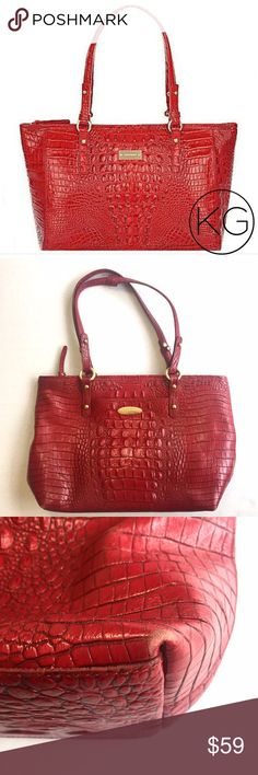 "Brahmin Arno Leather Melbourne Tote in Chutney Red In good pre-owned condition! Some pen marks on the inside of the bag, wear on the corners - see photos for details! •15"" wide x 10"" tall x 4"" deep - medium sized shopper •2 Interior zipper pockets, 2 cell phone pockets, key clip, double strap, zipper closure •Pen marks on interior not only in circled area, but shown as an example. I haven't tried to remove them, but they may come out! Price reflects flaws.  •Retail $295 🚫no trades nor…"