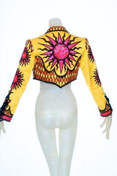 Bob Mackie bead embellished sunflower yellow bolero