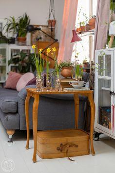 Oravanpesä: NARSISSIT SAMPPANJALASEISSA. Table, Furniture, Home Decor, Decoration Home, Room Decor, Tables, Home Furnishings, Home Interior Design, Desk