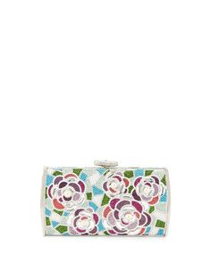 Slim Curved Rectangle Floral Crystal Evening Clutch Bag, Silver Multi by Judith Leiber Couture at Neiman Marcus Last Call.