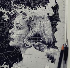 In an intriguing blend of cartography and illustration, UK artist Ed Fairburn uses maps as his canvases for stunning ink and pencil portraits. Faces are fr Ed Fairburn, Art And Illustration, Portrait Illustration, Illustrations, Art Inspo, Kunst Inspo, Art Et Design, Art Du Monde, Art Carte