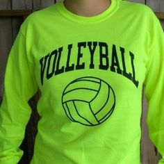 Neon Volleyball Long Sleeve T-shirt: Sports & Outdoors