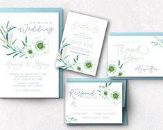 Dusty blue wedding invitation dusty blue, white floral wedding invitation floral, printable wedding invitation set, baby blue wedding