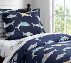 Summer Shark Preppy Duvet Cover