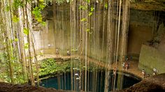 A view of the Cenote Sagrado from above.
