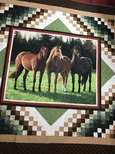 Southwestern Horse Quilt For Boys Or Girls Or in Full Size Horse Quilt/Quilted Earth Tone Horse Blanket/Kids Or Adult Bedding Chevron Quilt Pattern, Quilt Patterns, Block Patterns, Pattern Ideas, Quilting Projects, Quilting Designs, Quilting Ideas, Sewing Projects, Fabric Panel Quilts