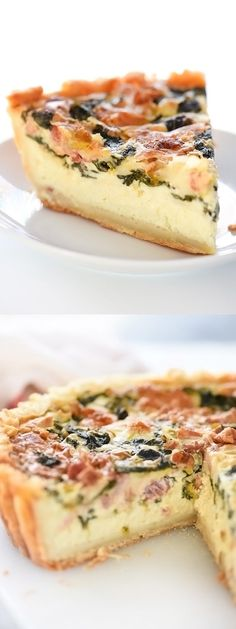 Deep-Dish Spinach, Leek and Bacon Quiche is made lighter with greek yogurt in a flaky, cream cheese crust | foodiecrush.com Quiches, Omelettes, Savory Tart, Savoury Pies, Pizzas, Breakfast Dishes, Breakfast Recipes, Quiche With Bacon, Pizza Dough Greek Yogurt