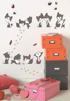 Vinilos gatitos http://www.mamidecora.com/habitaciones-infantiles-decoradas-con-gatitos.html
