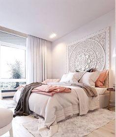 Cozy Bedroom, Bedroom Inspo, Modern Bedroom, Master Bedrooms, Scandinavian Bedroom, White Bedroom, Bedroom Simple, Pink Bedrooms, Bedroom Inspiration
