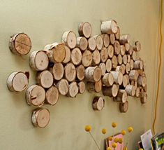 DIY  Wall Art From Wood Logs