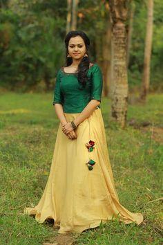 New bridal gowns modern skirts Ideas Long Skirt Top Designs, Long Skirt And Top, Long Dress Design, Long Gown Dress, The Dress, Dress Skirt, Half Saree Designs, Lehenga Designs, Kerala Engagement Dress