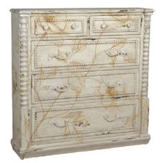 Finished in a creamy, vintage white with artful distressing for a perfectly aged look.  Vintage Vines Chest
