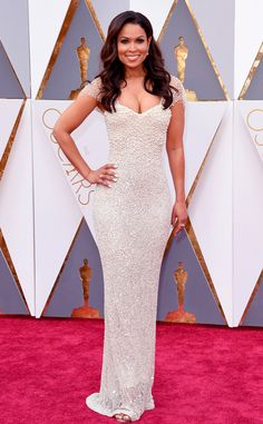 Oscars 2016: Tracey Edmonds attends the award ceremony in a white Lorena Sarbu gown.
