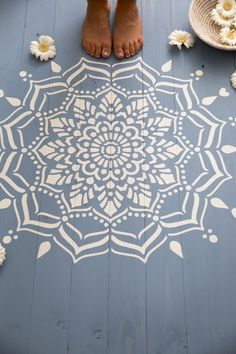 How to stencil furniture with Annie Sloan chalk paint love this white painted mandala stencil pattern on blue painted floorboards. Click through for more ideas you'll love Painting Kids Furniture, Painted Bedroom Furniture, Furniture Stencil, Diy Furniture, Stencil Decor, French Furniture, Unique Furniture, Furniture Makeover, Outdoor Furniture