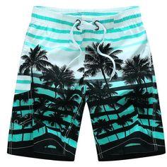 Bermuda Summer 2018 Men Beach Shorts fashion Printing coconut trees BoardShorts Quick-drying shorts for men Plus size Surf Board Shorts, Surf Shorts, Men Shorts, Casual Shorts, Print Shorts, Men Pants, Short Sport Homme, Dior Men, Plus Size Beach Wear