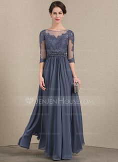 6b07493d780 A-Line Princess Scoop Neck Floor-Length Chiffon Lace Mother of the Bride  Dress With Beading Sequins (008143370)