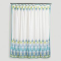 Blue/Green Print Shower Curtain | World Market