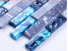 Gris Marbre pierre Mer bleu mosaïque de verre mur carrelage pour la cuisine dosseret salle de bains verrouillage linéaire douche cheminée brique dans Fonds d'écran de Amélioration de l'habitat sur AliExpress.com | Alibaba Group