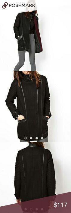 NWOT Asos Quilted Sleeve Biker Coat NWOT ( zipper is still wrapped in tissue). Asos quilted sleeve biker coat. ASOS Jackets & Coats