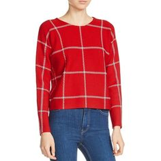 Maje Mademoise Checker Print Sweater ($228) ❤ liked on Polyvore featuring tops, sweaters, rouge, maje, checkered top, red top, red sweater and checkered sweater