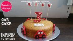 car cake decoration for kids birthday party on vanilla sponge design ideas tutorial video Homemade Birthday Decorations, Easy Kids Birthday Cakes, Easy Cakes For Kids, 3rd Birthday Cakes, Homemade Birthday Cakes, Cakes For Boys, Car Birthday, Cricket Birthday Cake, Cartoon Birthday Cake