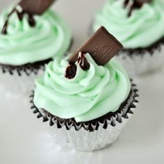 Chocolate cupcakes filled with chocolate mint ganache and topped with a cream cheese mint buttercream