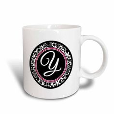 3dRose Letter Y stylish monogrammed circle - girly personal initial personalized black damask with hot pink, Ceramic Mug, 11-ounce