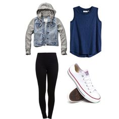 Fall Outfit by queenme4ever on Polyvore featuring polyvore, fashion, style, H&M, Abercrombie & Fitch, Pieces and Converse