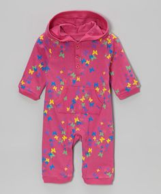 Another great find on #zulily! Pink Butterfly Hooded Playsuit - Infant #zulilyfinds