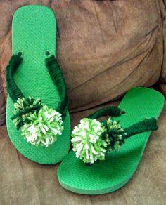 Green Pompom Flip Flops