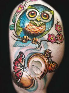 Owl and butterflies tattoo Kurt Fagerland  #owl #butterfly #butterflies #stopwatch #tattoo #tattoos #Inked #InkedMagazine