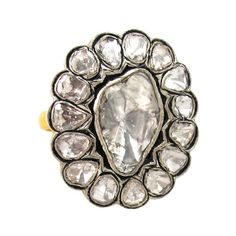 2.55ct Rose Cut Polki Diamond 14k Gold 925 Sterling Silver Victorian Style Ring #Handmade #Cocktail