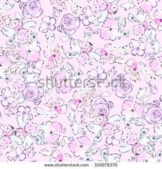 Purple Watercolor Flower Pattern. Modern Light Purple Floral Pattern by Angie Makes
