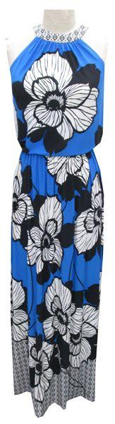 London Times Floral Jersey Maxi Dress