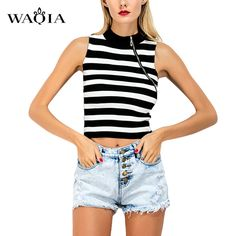 >> Click to Buy << 2017 Summer Women Sleeveless O-neck Shirts Loose Type Cotton Elastic Basic Short T-shirts Female Casual Striped Tops 2 colors #Affiliate