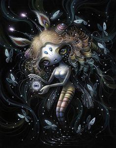 Yoko d'Holbachie, Phemera Danica's Love - Ephemeral, Modern Eden Gallery Pretty Art, Cute Art, Dark Pictures, Dark Images, Halloween Drawings, Comic, Lowbrow Art, Pop Surrealism, Creepy Cute