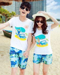 Sandy beach Casual T-shirt couples couple clothes a set