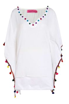 Evie Bright Pom Pom Trim Oversized Top alternative image