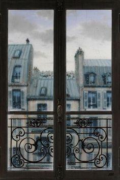 "From Blue Pueblo: ""Rainy Day, Paris, France"" I love picture windows! Little Paris, I Love Paris, Paris Paris, Paris Cafe, Paris Apartments, Parisian Apartment, European Apartment, European Homes, Apartment View"