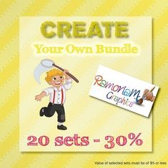 Clip art Bundle set where you have the option of selecting exactly what is bundled! This set gives you a choice of 20 sets and a saving of up to 30%